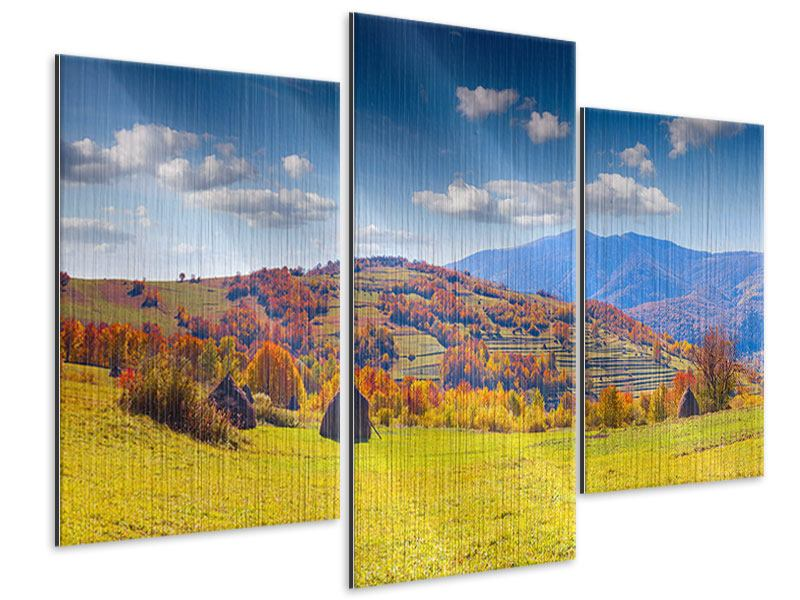 Metallic-Bild 3-teilig modern Herbstliche Berglandschaft