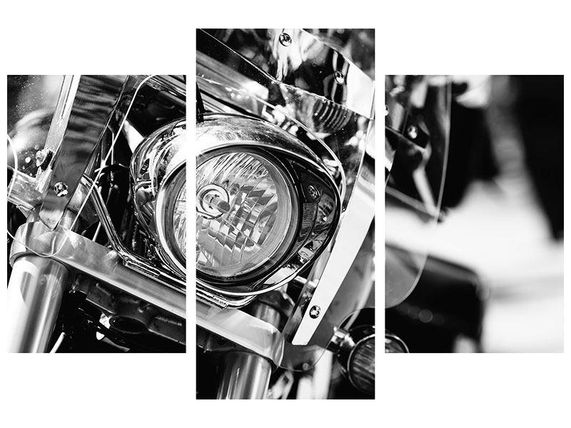 Metallic-Bild 3-teilig modern Motorrad Close Up