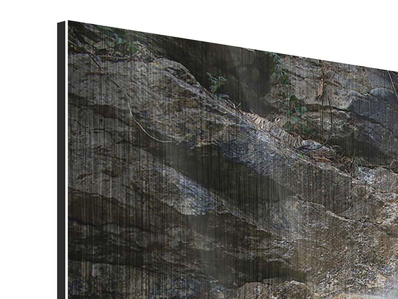 Metallic-Bild 3-teilig modern Imposanter Wasserfall