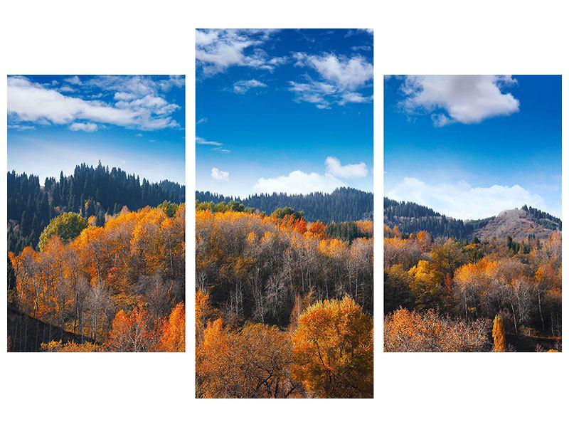 Metallic-Bild 3-teilig modern Wolken ziehen auf
