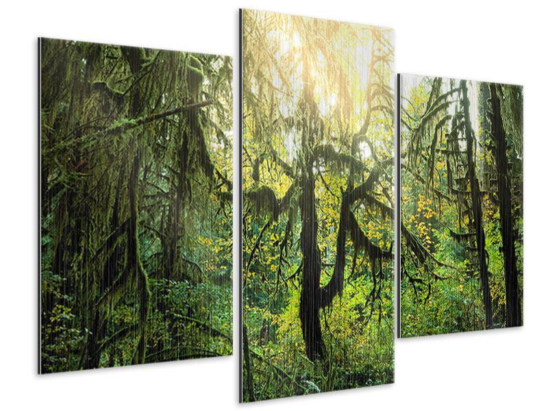 Metallic-Bild 3-teilig modern Verträumter Wald