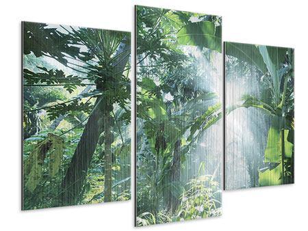 Metallic-Bild 3-teilig modern Dschungelstar