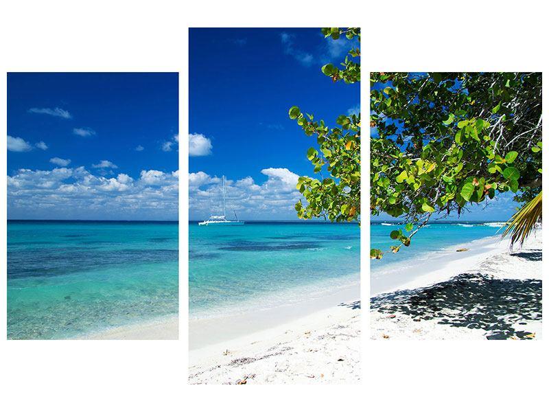 Metallic-Bild 3-teilig modern Happy Beach