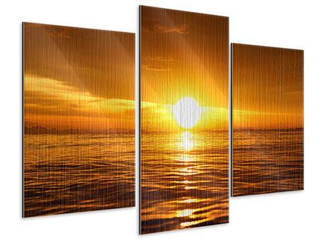 Metallic-Bild 3-teilig modern Glühender Sonnenuntergang am Wasser