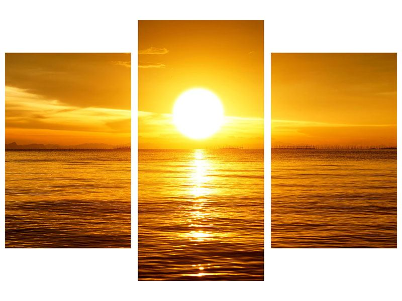 Metallic-Bild 3-teilig modern Traumhafter Sonnenuntergang