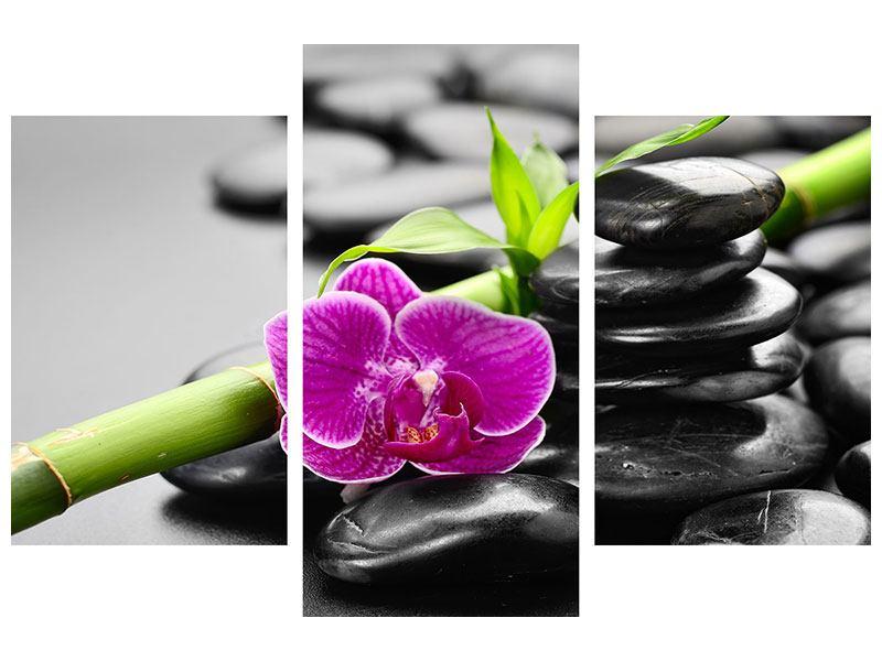 Metallic-Bild 3-teilig modern Feng-Shui-Orchidee