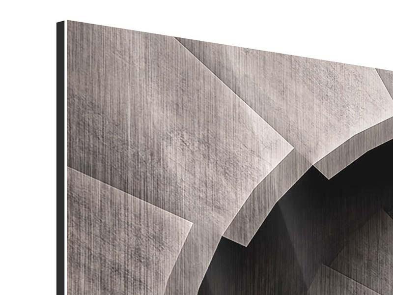 Metallic-Bild 3-teilig modern Steinwendeltreppe