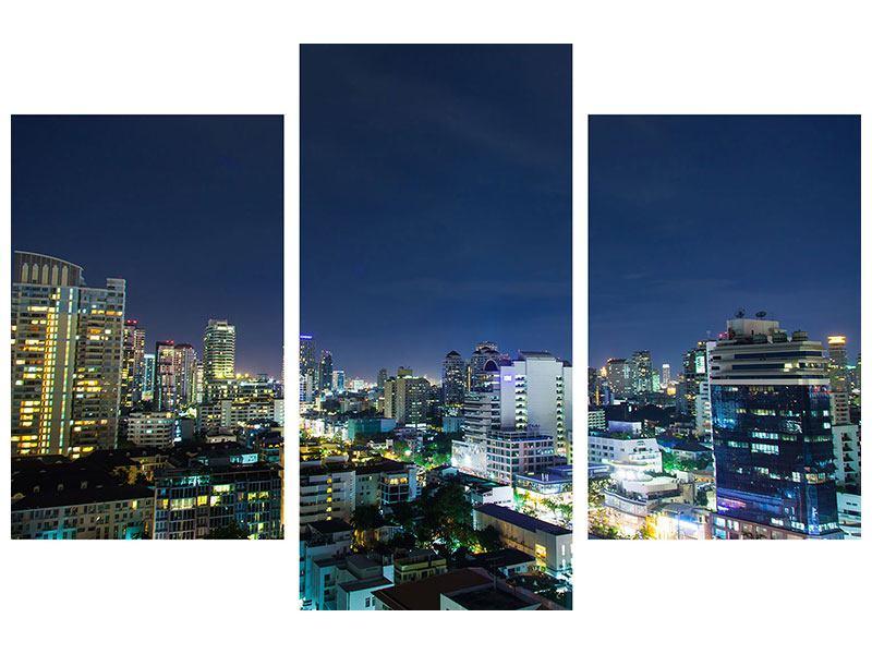 Metallic-Bild 3-teilig modern Skyline Nachts in Bangkok