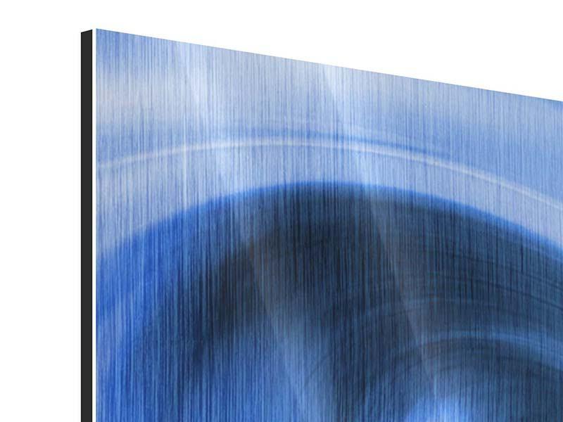 Metallic-Bild 3-teilig modern Abstrakte blaue Welle