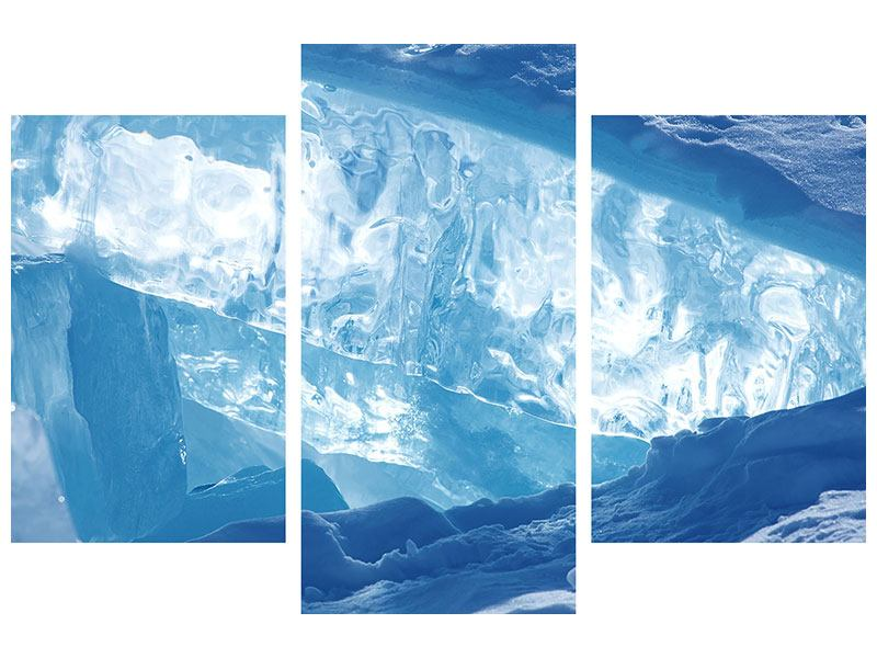 Metallic-Bild 3-teilig modern Baikalsee-Eis
