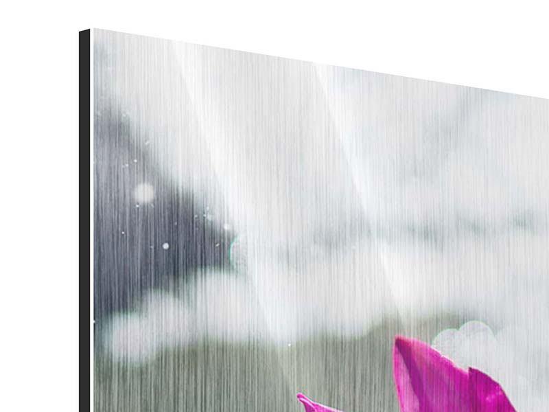 Metallic-Bild 3-teilig modern Seerosenduo in Pink