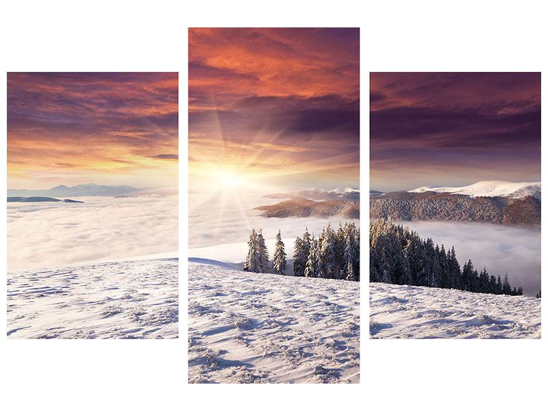 Metallic-Bild 3-teilig modern Sonnenaufgang Winterlandschaft