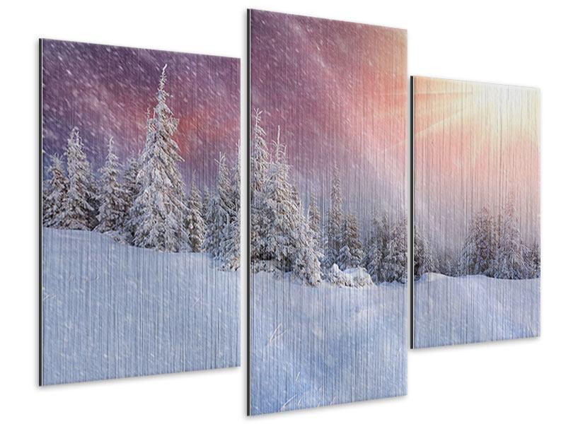Metallic-Bild 3-teilig modern Mystischer Schneesturm
