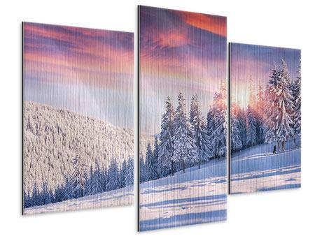 Metallic-Bild 3-teilig modern Winterlandschaft