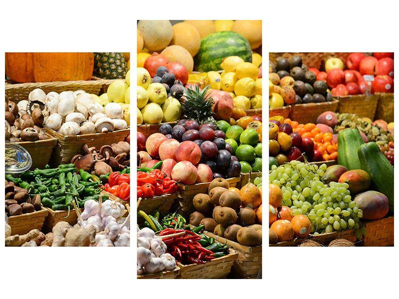Metallic-Bild 3-teilig modern Obstmarkt