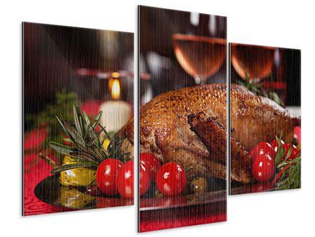 Metallic-Bild 3-teilig modern Köstliches Geflügel