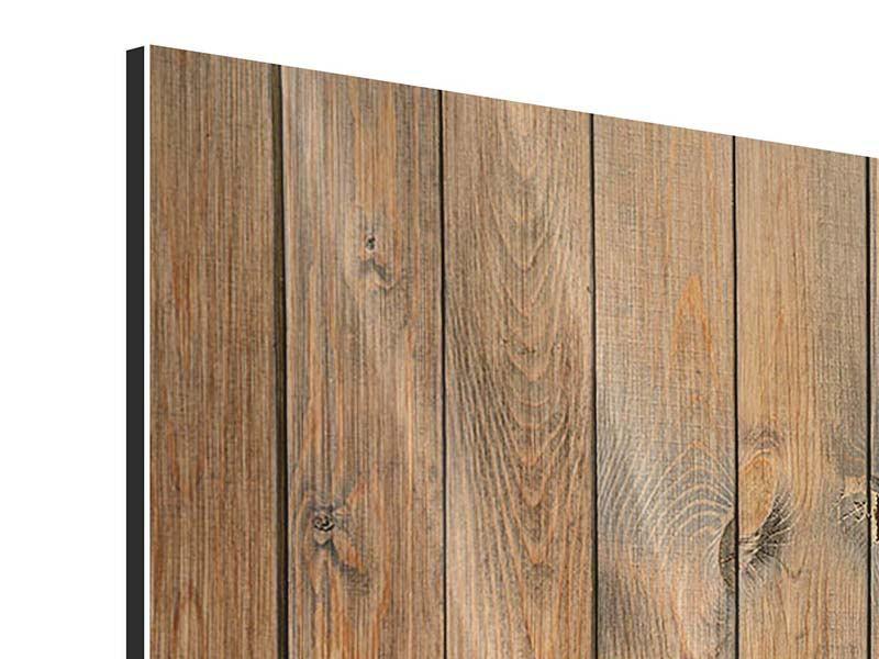 Metallic-Bild 3-teilig modern Bretterwand