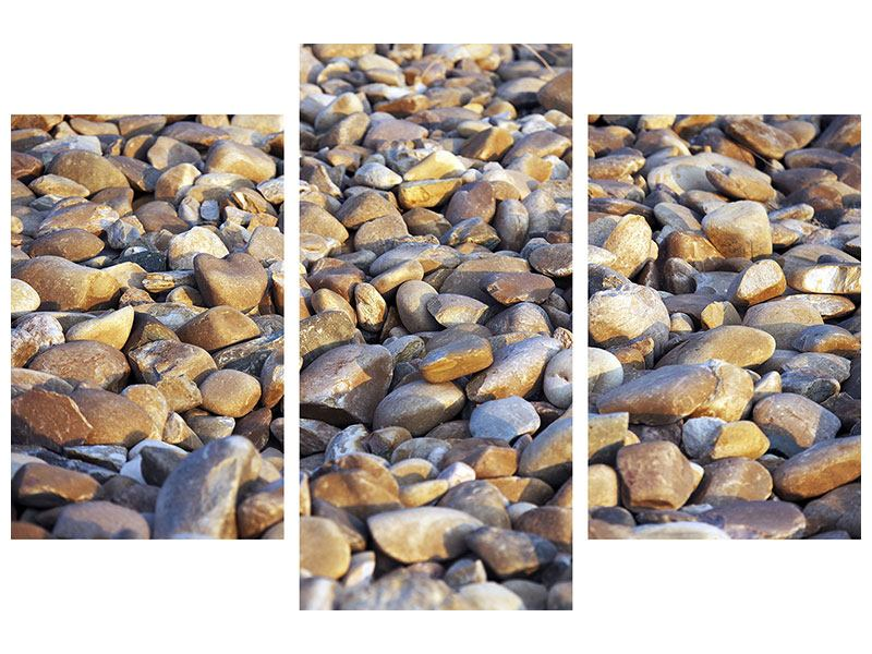 Metallic-Bild 3-teilig modern Strandsteine