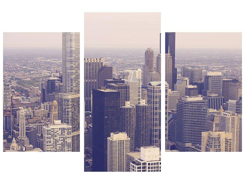 Metallic-Bild 3-teilig modern Skyline Chicago in Sepia
