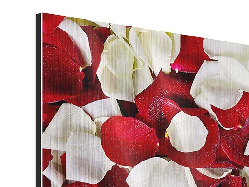 Metallic-Bild 3-teilig modern Rosenblätter