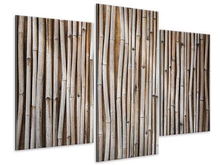 Metallic-Bild 3-teilig modern Getrocknete Bambusrohre