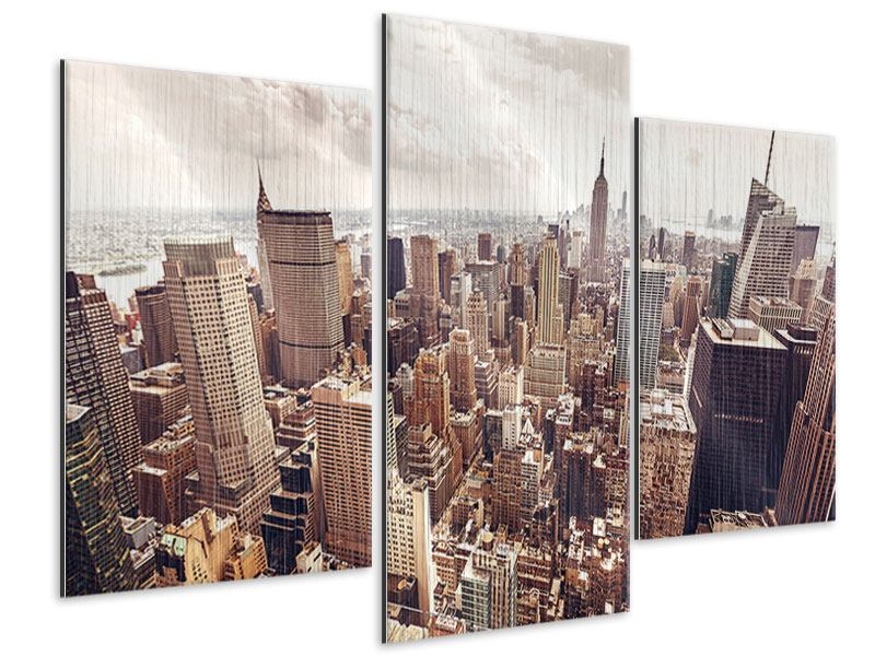 Metallic-Bild 3-teilig modern Skyline Über den Dächern Manhattans
