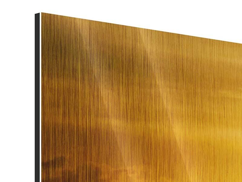 Metallic-Bild 3-teilig modern Sonnenuntergang See