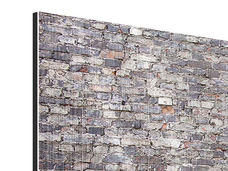 Metallic-Bild 3-teilig modern Alte Backsteine