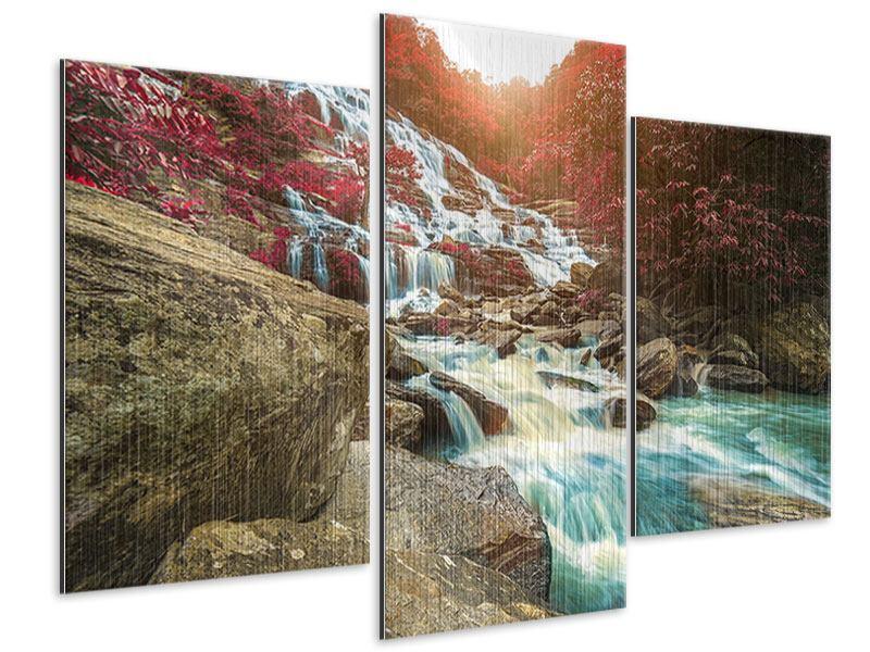 Metallic-Bild 3-teilig modern Exotischer Wasserfall