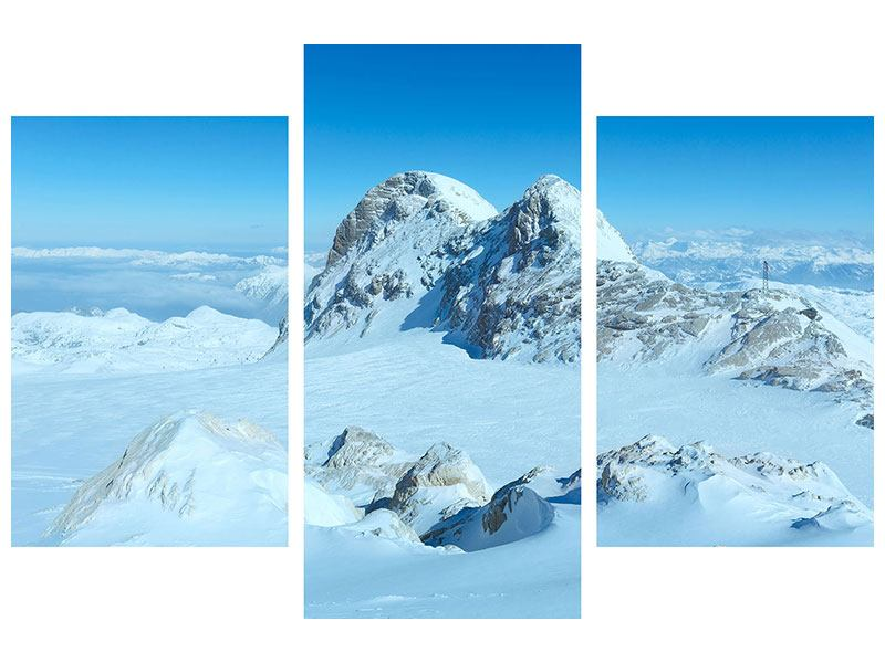 Metallic-Bild 3-teilig modern Über den Wolken