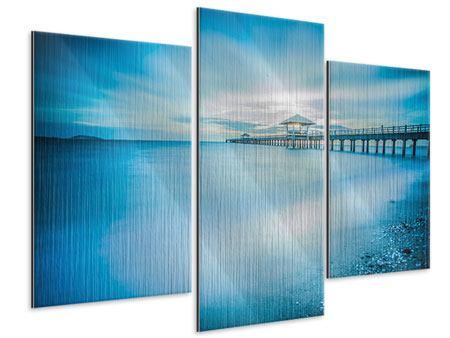 Metallic-Bild 3-teilig modern Brückenimpression