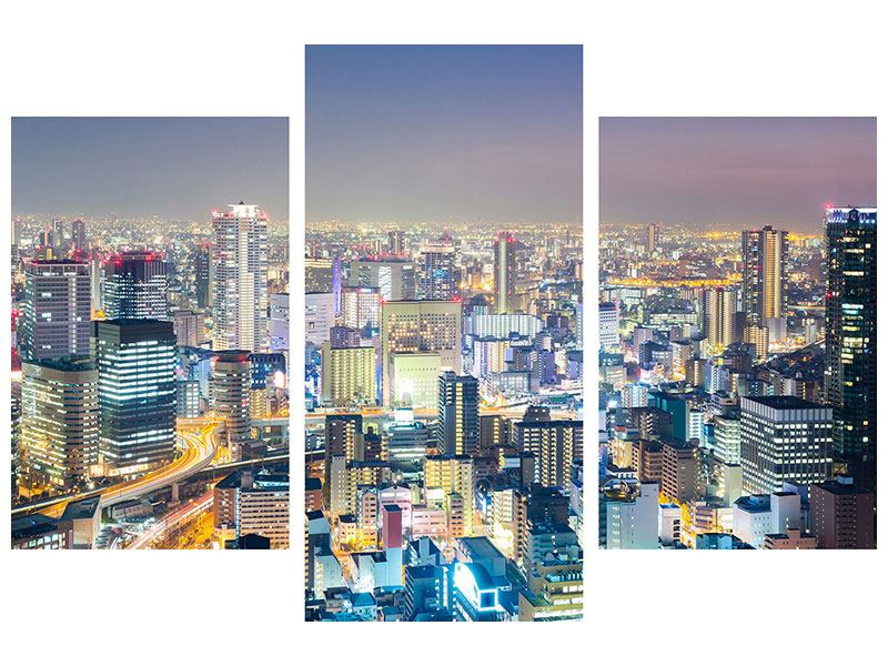 Metallic-Bild 3-teilig modern Skyline Osaka bei Sonnenuntergang
