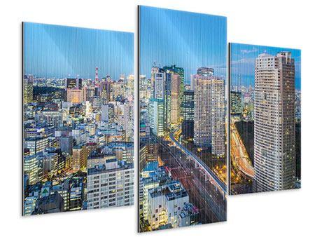 Metallic-Bild 3-teilig modern Skyline Tokio im Lichtermeer
