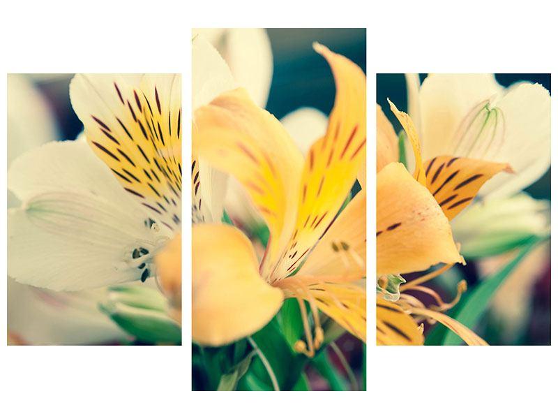 Metallic-Bild 3-teilig modern Tigerlilien