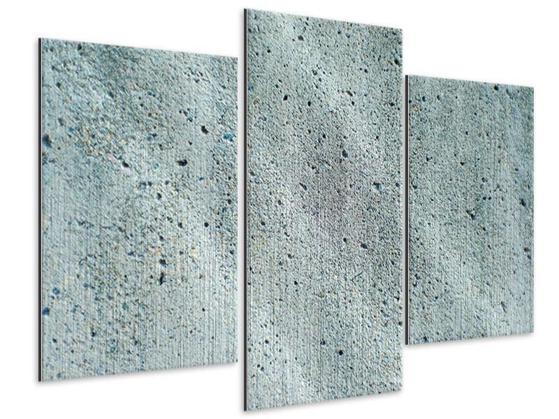 Metallic-Bild 3-teilig modern Beton in Grau