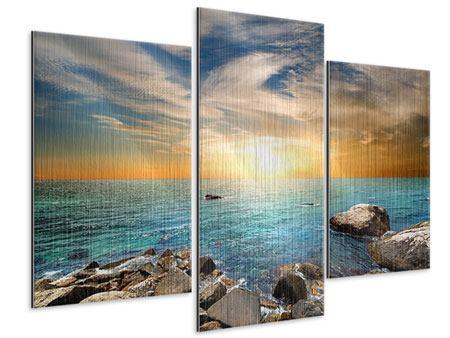 Metallic-Bild 3-teilig modern Meerwasser