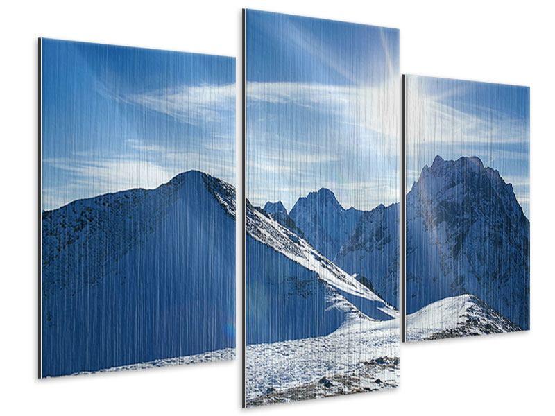 Metallic-Bild 3-teilig modern Der Berg im Schnee