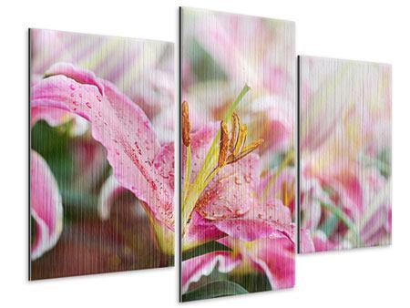 Metallic-Bild 3-teilig modern Lilien im Tau