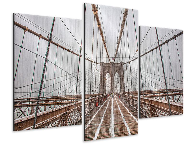 Metallic-Bild 3-teilig modern Auf der Brooklyn Bridge