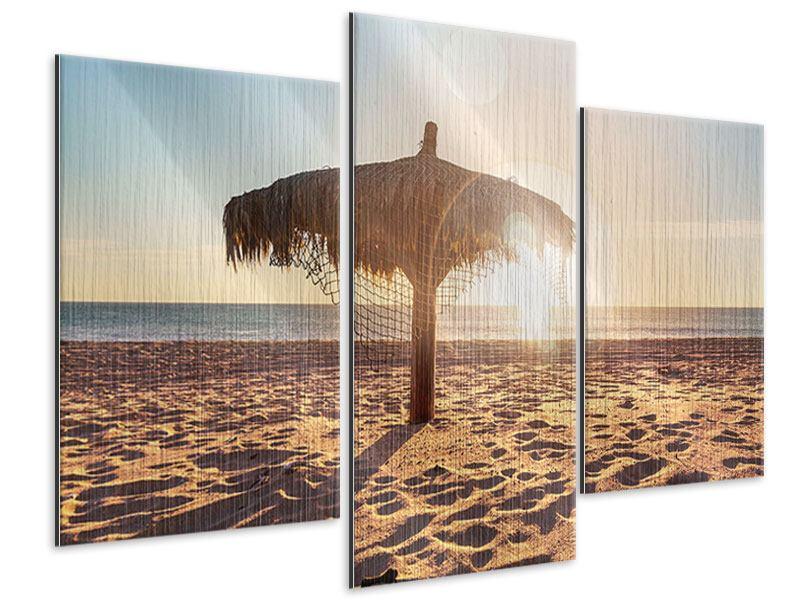 Metallic-Bild 3-teilig modern Der Sonnenschirm