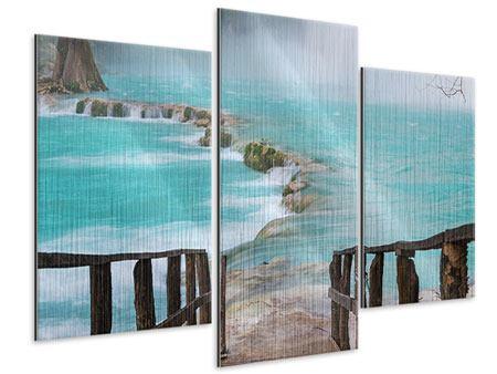 Metallic-Bild 3-teilig modern Haus am Wasserfall