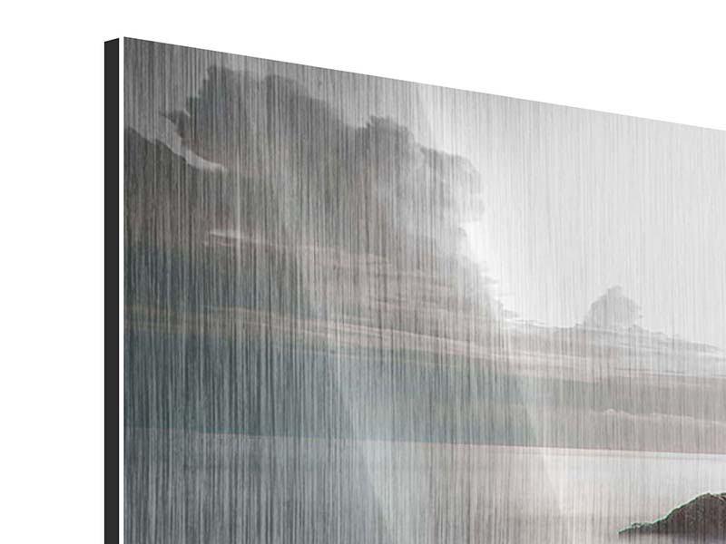 Metallic-Bild 3-teilig modern Steine am Strand