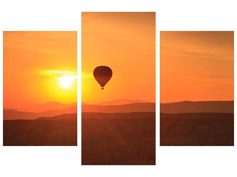 Metallic-Bild 3-teilig modern Heissluftballon bei Sonnenuntergang
