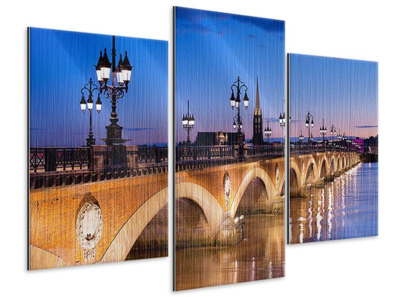 Metallic-Bild 3-teilig modern Pont De Pierre bei Sonnenuntergang