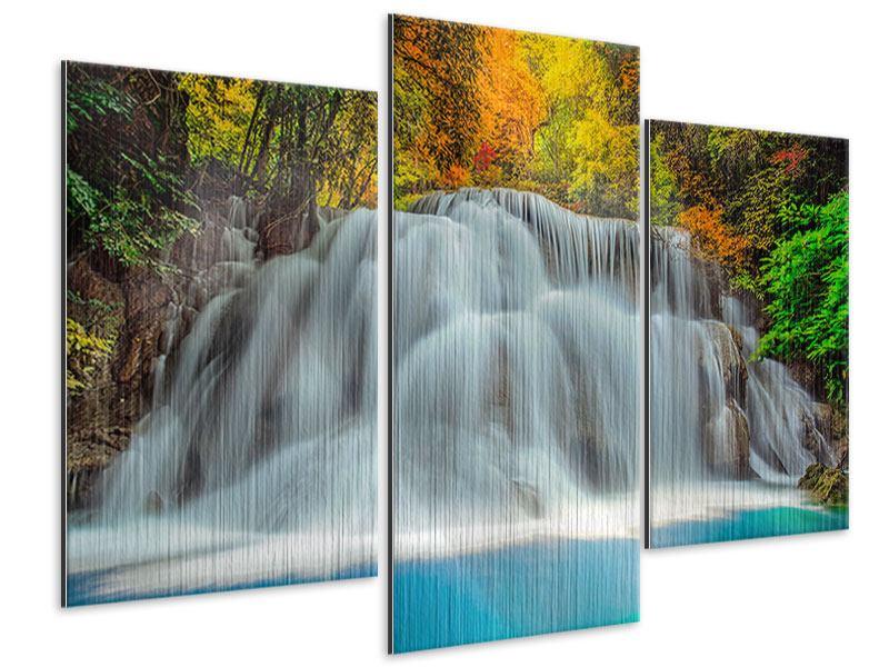 Metallic-Bild 3-teilig modern Fallendes Gewässer