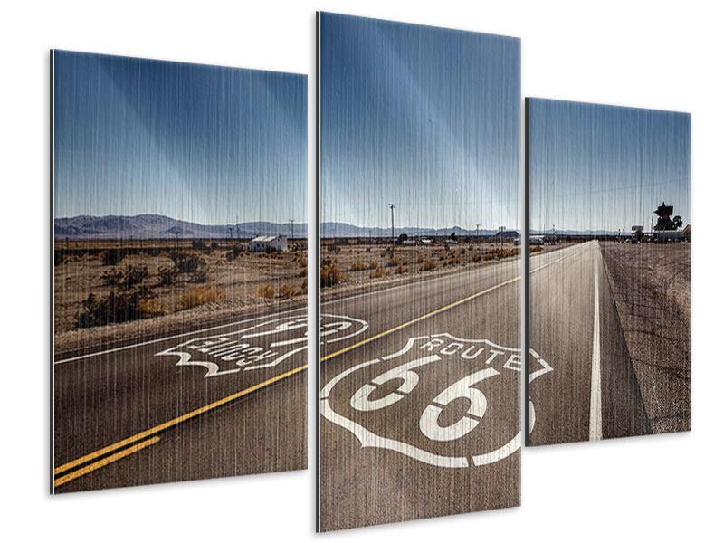 Metallic-Bild 3-teilig modern Route 66