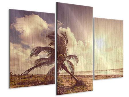 Metallic-Bild 3-teilig modern Die schiefe Palme