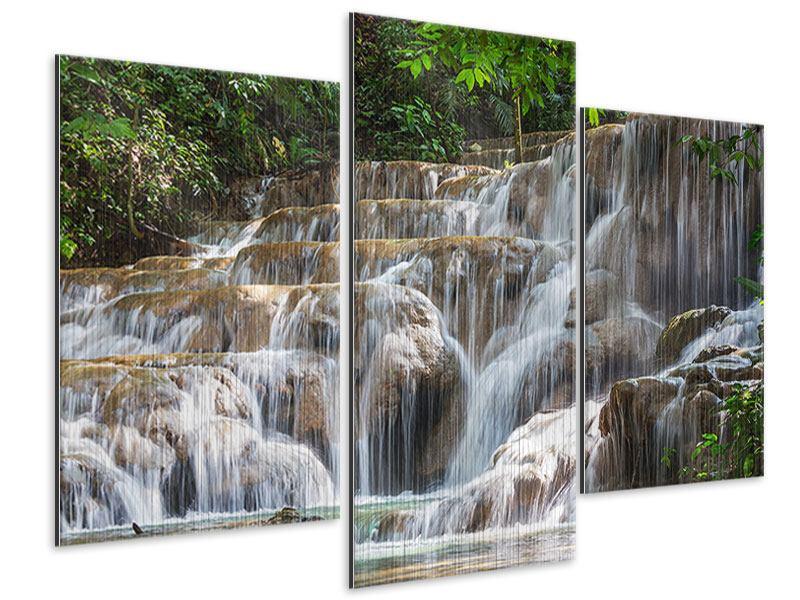 Metallic-Bild 3-teilig modern Mexikanischer Wasserfall
