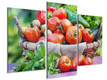 Metallic-Bild 3-teilig modern Gemüsekorb