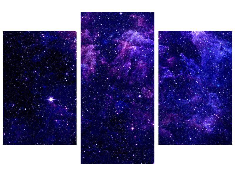 Metallic-Bild 3-teilig modern Ein Himmel voll Sterne